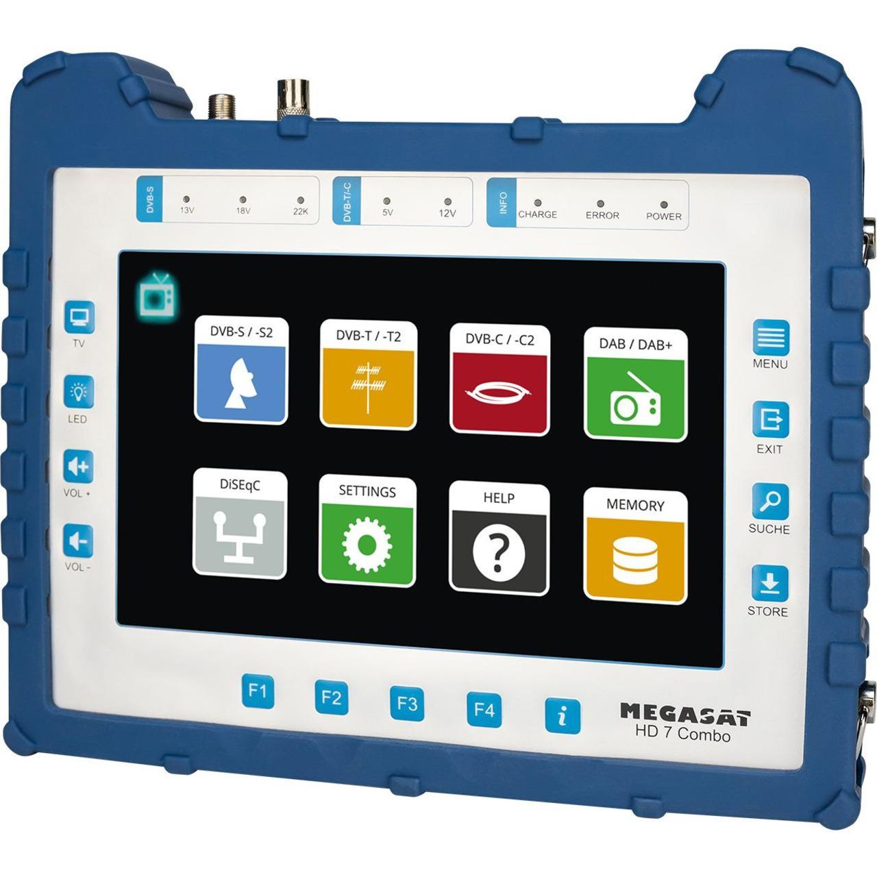 Megasat DVB-Combo-Messgerät HD 7 Combo, DVB-S/S2/T/T2/C/C2, DAB+, 22,6-cm-Touchdisplay (8,9
