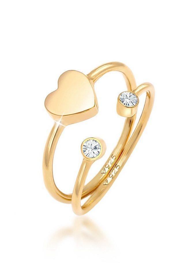 Elli Ring-Set »Herz Liebe Kristall (2 tlg) 925 Silber«, Kristall Ring, goldfarben