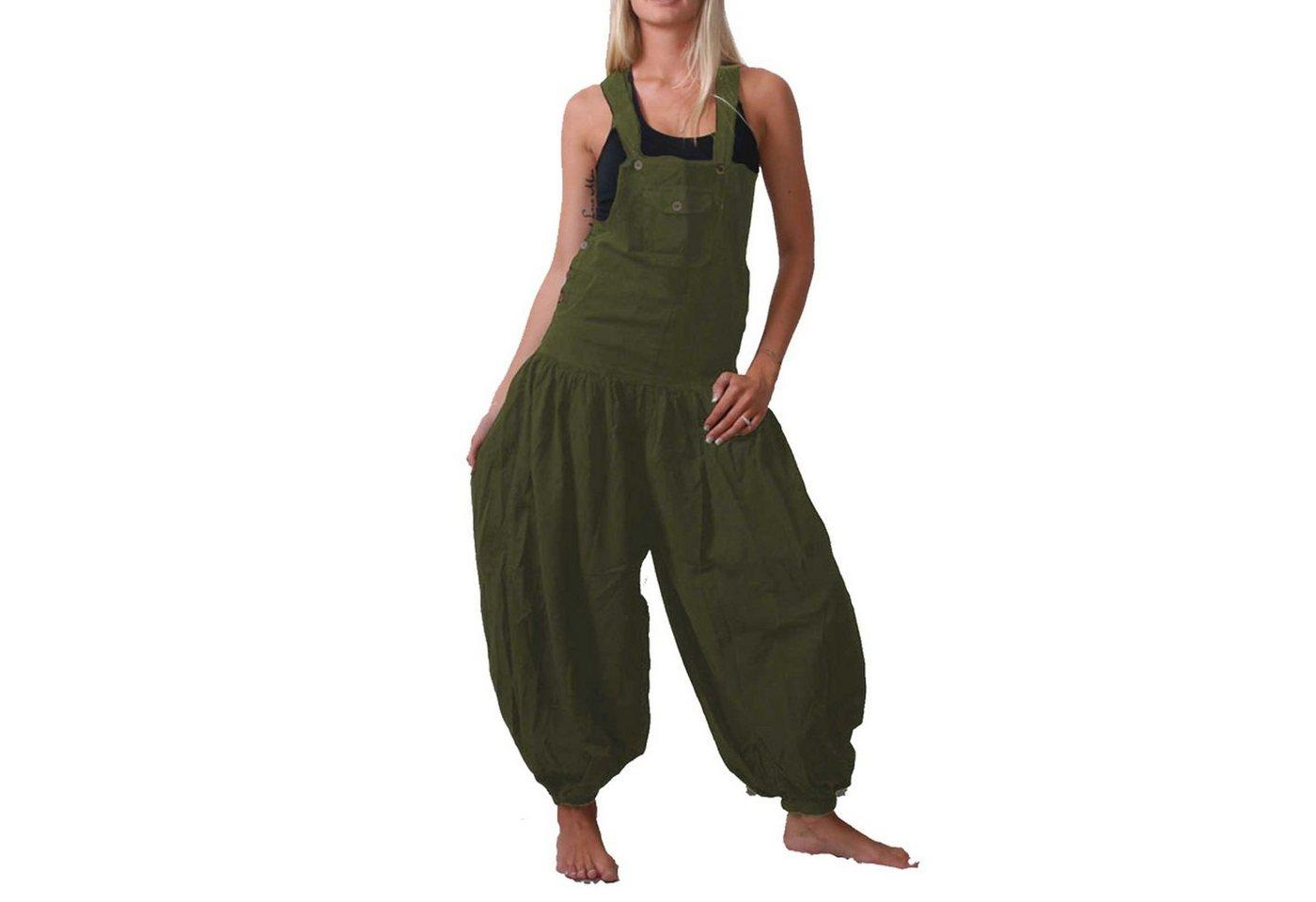 KUNST UND MAGIE Latzhose »Hippie Latzhose Haremshose Hose Psy Goa 70er Overall Boho«, grün