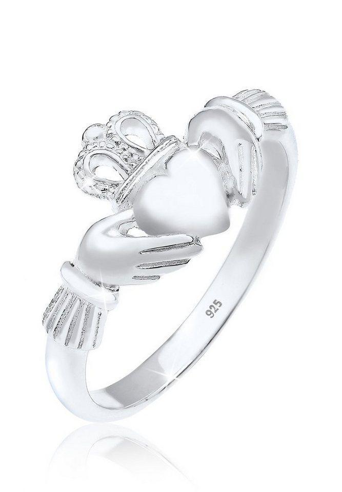 Elli Fingerring »Claddagh Herz Krone Königlich 925 Silber«, Claddagh, silberfarben