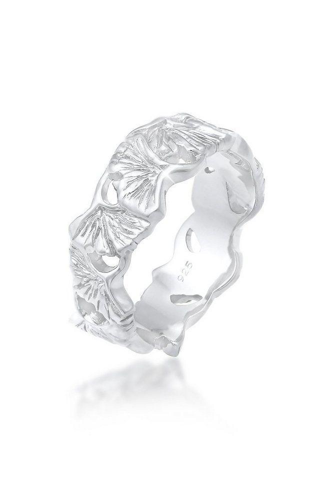 Elli Fingerring »Ginkgo Blätter Trend Cool Glück 925 Silber«, Ginkgo