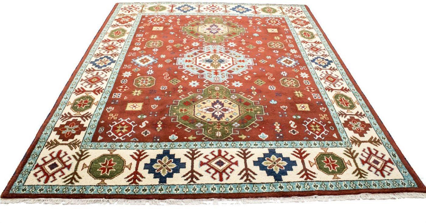 Wollteppich »Kazak Teppich handgeknüpft rot«, morgenland, rechteckig, Höhe 18 mm