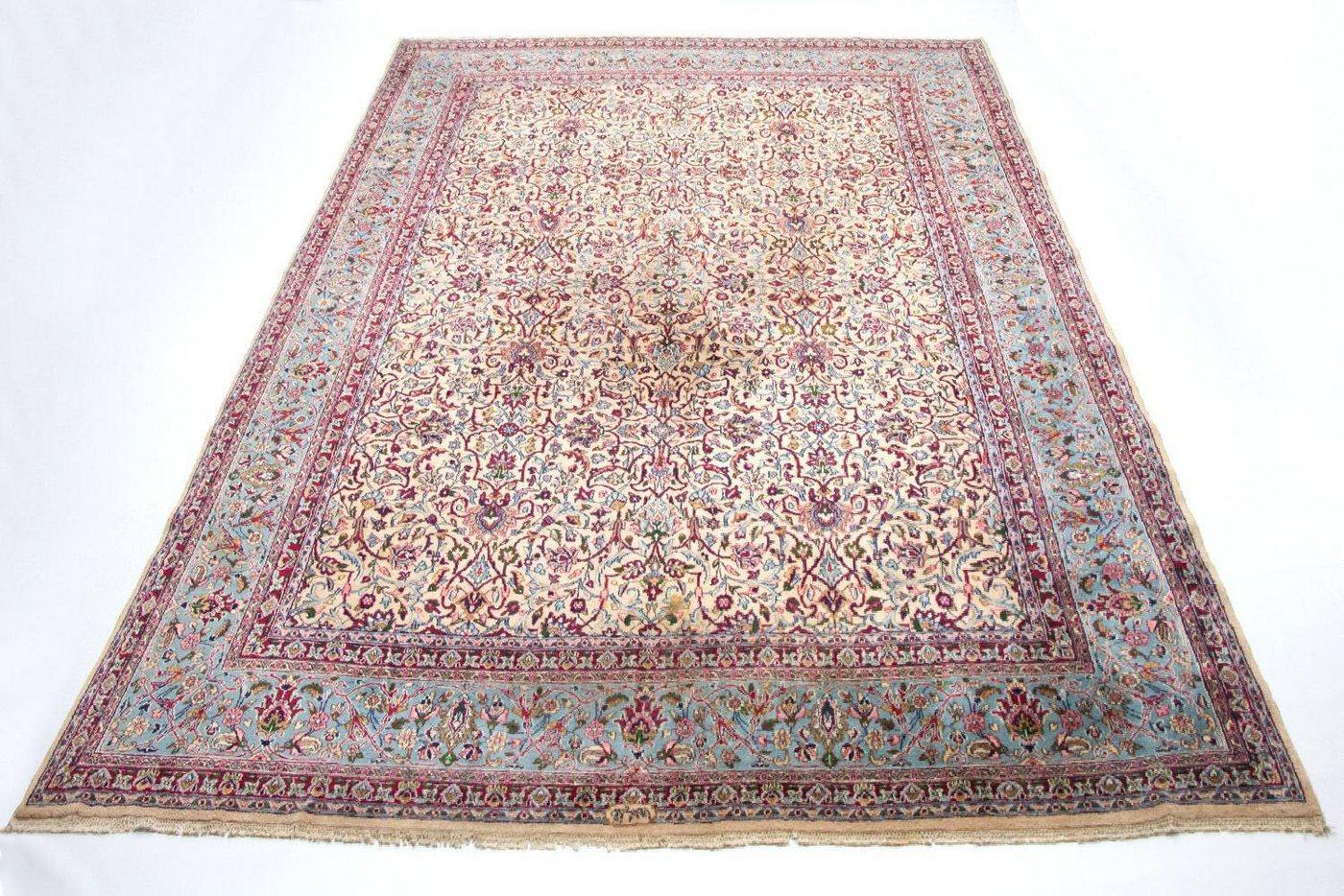Wollteppich »Kerman Teppich handgeknüpft beige«, morgenland, rechteckig, Höhe 7 mm