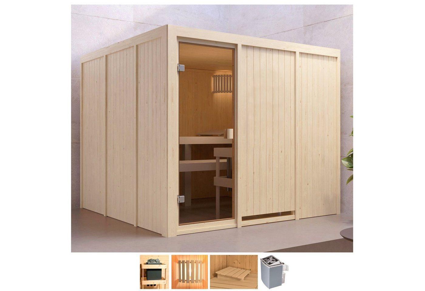 Karibu Sauna »Ferun«, BxTxH: 231 x 231 x 198 cm, 68 mm, 9-kW-Ofen mit int. Steuerung