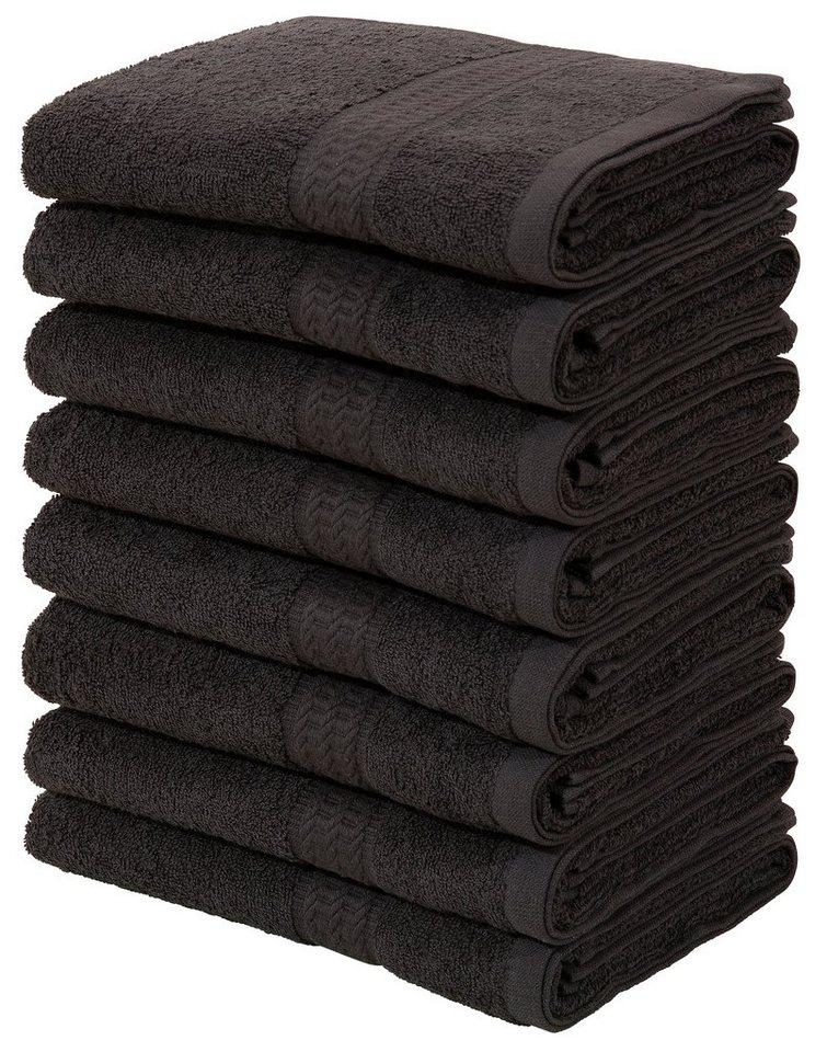 my home Handtücher »Juna« (8-St), im Vorteilspack, schwarz