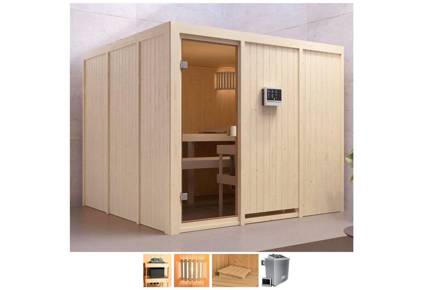 Karibu Sauna »Ferun«, BxTxH: 231 x 231 x 198 cm, 68 mm, 9-kW-Ofen mit ext. Steuerung