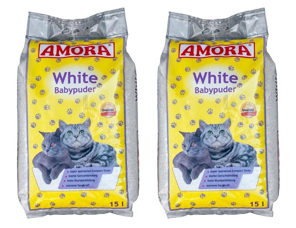 Amora white mit Babypuderduft 2 x 15 Liter + 2 Sanabelle Snack gratis