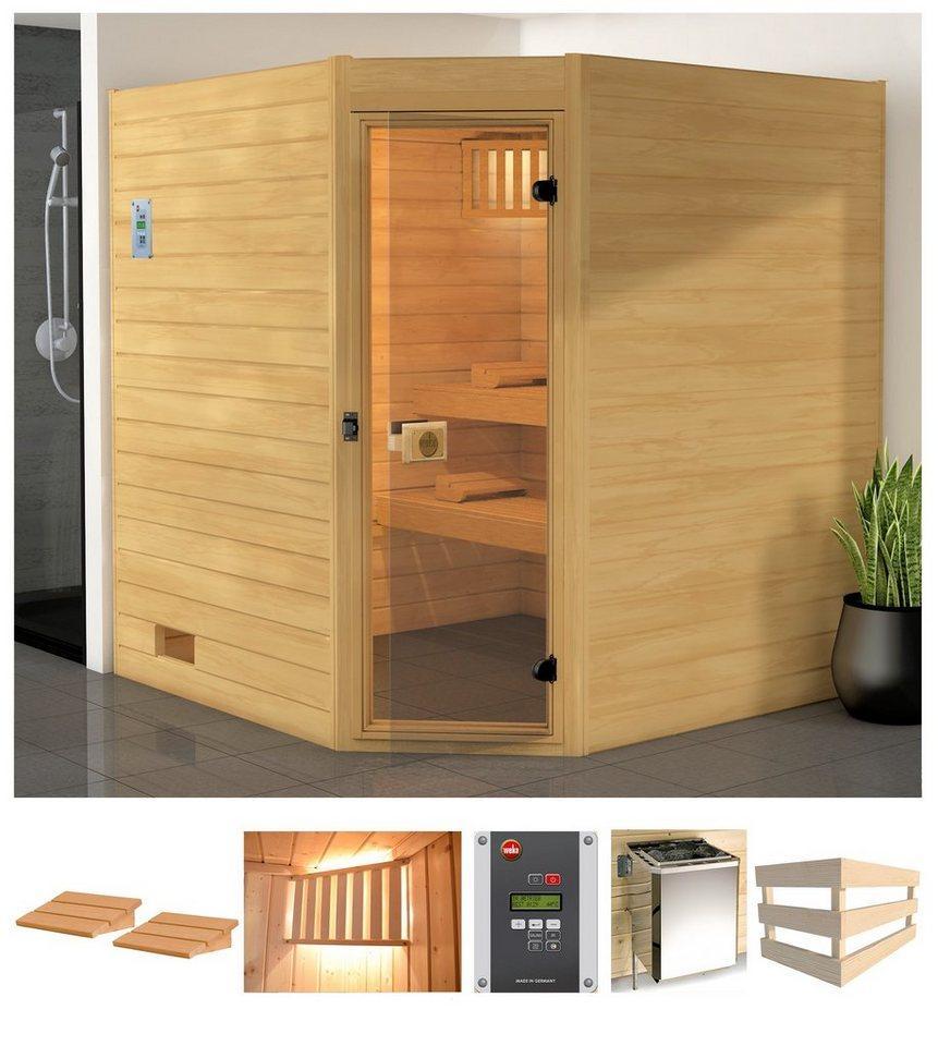 weka Sauna »Vaasa 2 Eck«, BxTxH: 189 x 172 x 203,5 cm, 38 mm, 7,5 kW Bio-Kombiofen mit ext. Steuerung