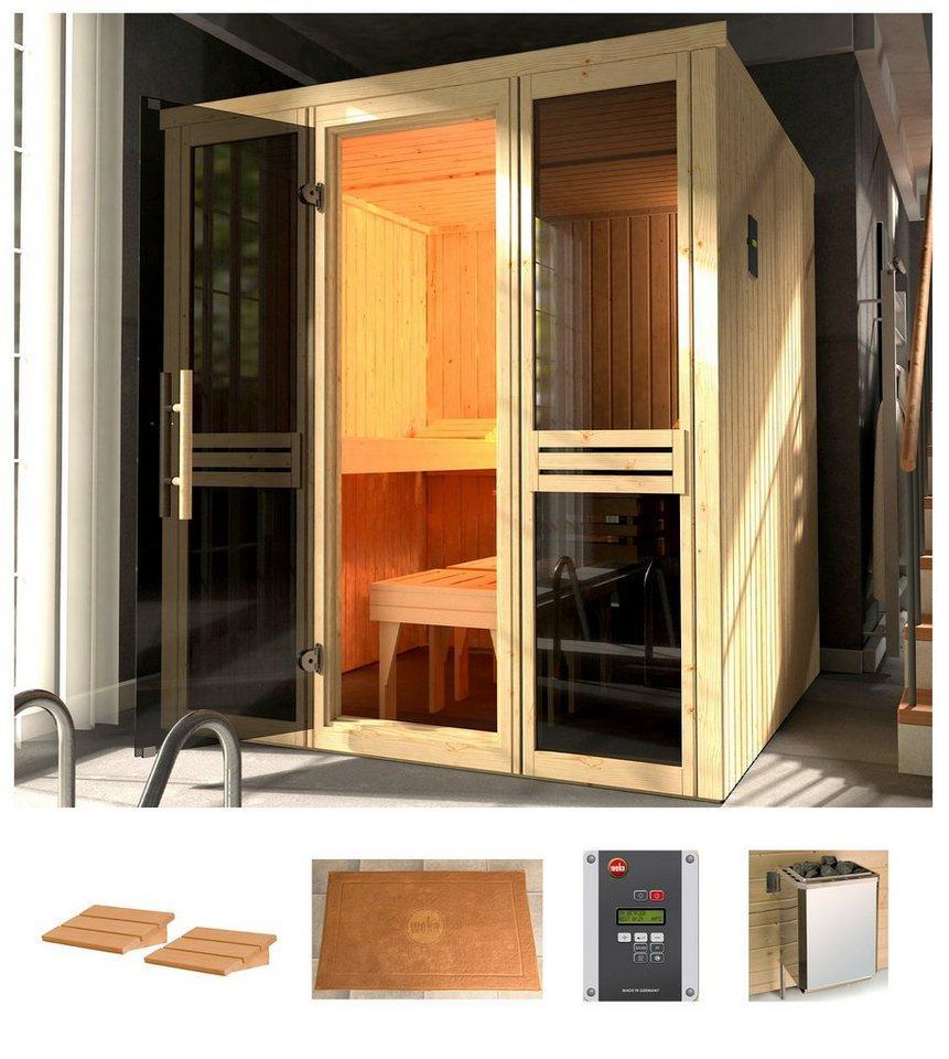 weka Sauna »Classic«, BxTxH: 177 x 194 x 199 cm, 68 mm, 7,5 kW Bio-Kombiofen mit ext. Strg.