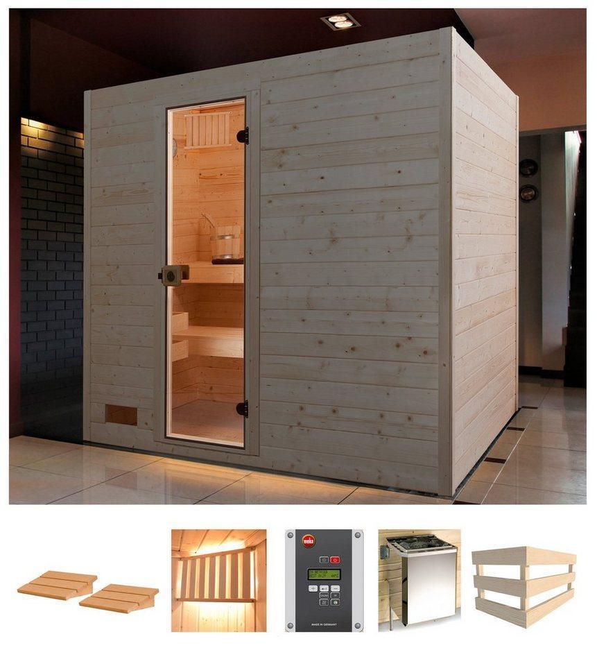 weka Sauna »Vaasa 3«, BxTxH: 239 x 189 x 203,5 cm, 38 mm, 7,5 kW Bio-Kombiofen mit ext. Steuerung