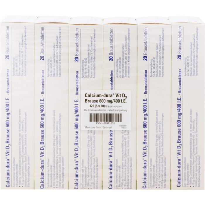 CALCIUM DURA Vit D3 Brause 600 mg/400 I.E. 120 St.