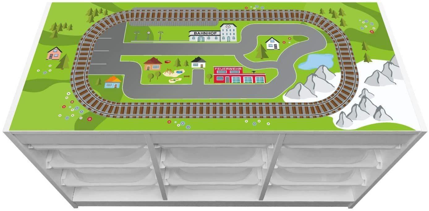 """STIKKIPIX Möbelfolie »TF04«, (MÖBEL NICHT INKLUSIVE) Aufkleber """"Eisenbahn"""", passend für das Regal TROFAST von IKEA"""