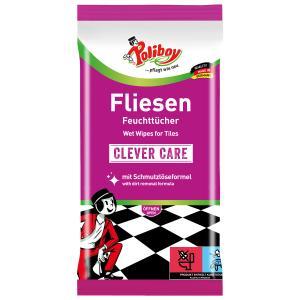 POLIBOY Fliesen-Feuchttücher Clever Care, Fliesentücher für streifenfreies und schnelles Abtrocknen, 1 Packung = 15 Tücher