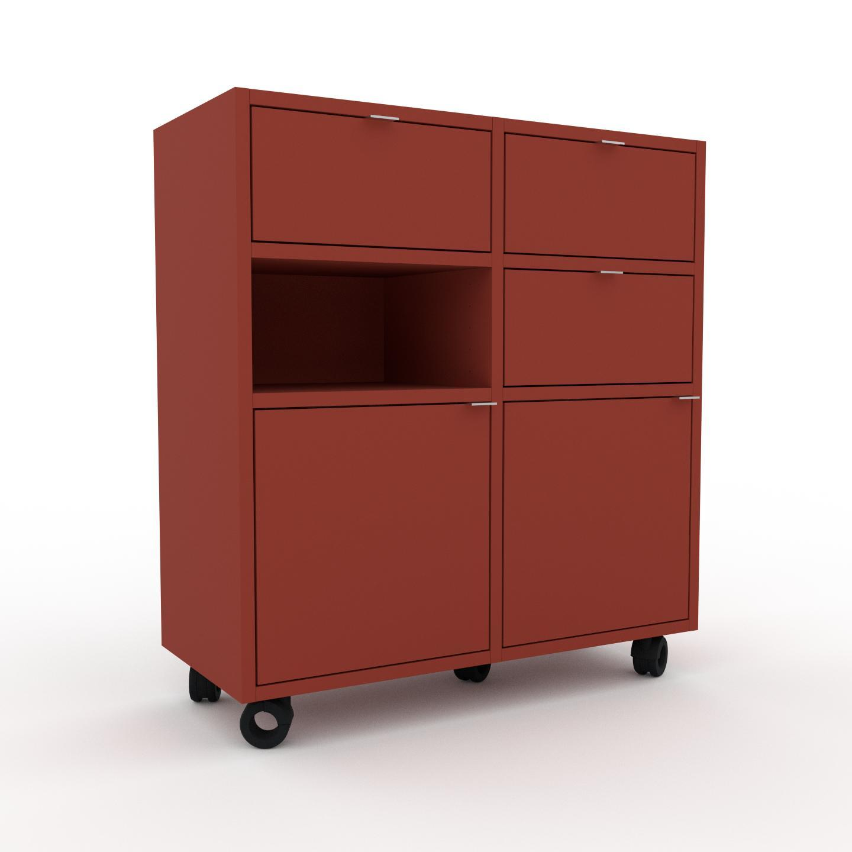 Holzregal Terrakotta - Modernes Regal aus Holz: Schubladen in Terrakotta & Türen in Terrakotta - 79 x 87 x 35 cm,...